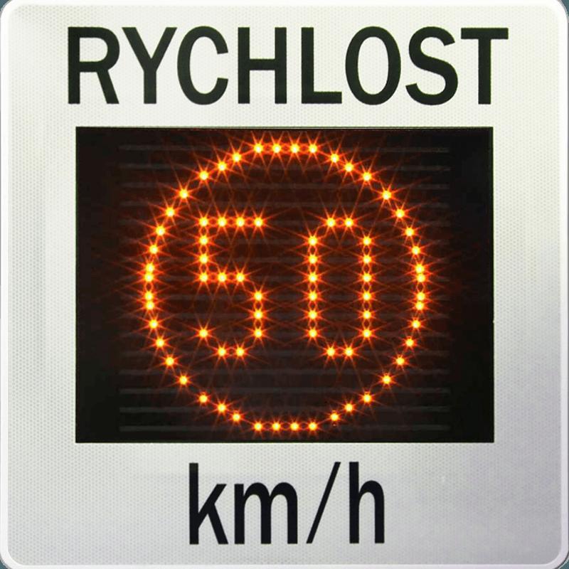 Měřič rychlosti (radar,ukazatel) GR33L zobrazuje rychlost 50 v jantarově žlutých barvách LED