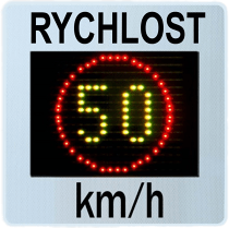 Měřič rychlosti (radar,ukazatel) GR33CL zobrazuje rychlost 50 v kombinovaných barvách LED žluté a červené.