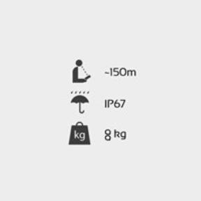 ukazatel rychlosti - Technické ikony zobrazující technické parametry jako je stupeň krytí IP67 a váha 8kg