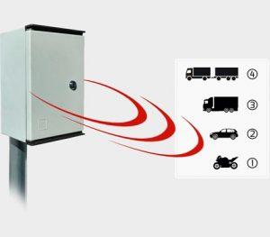 Statistický radar osazený na sloupku demonstruje jak zaznamenává rychlost několika druhů vozidel