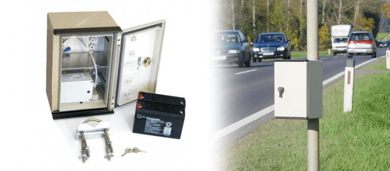 Koláž statistického radaru SR4 kombinuje fotografii z provedené instalace a fotografii produktu